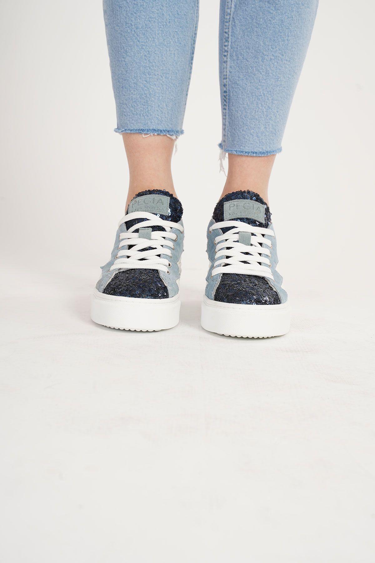 Pegia Genuine Leather Sequined Women's Sneaker LA1501 Turquoise