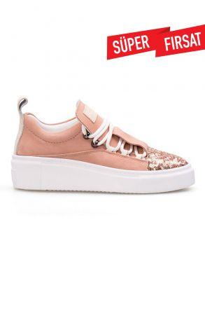 Pegia Hakiki Deri Payetli Kadın Sneaker LA1704 Pudra