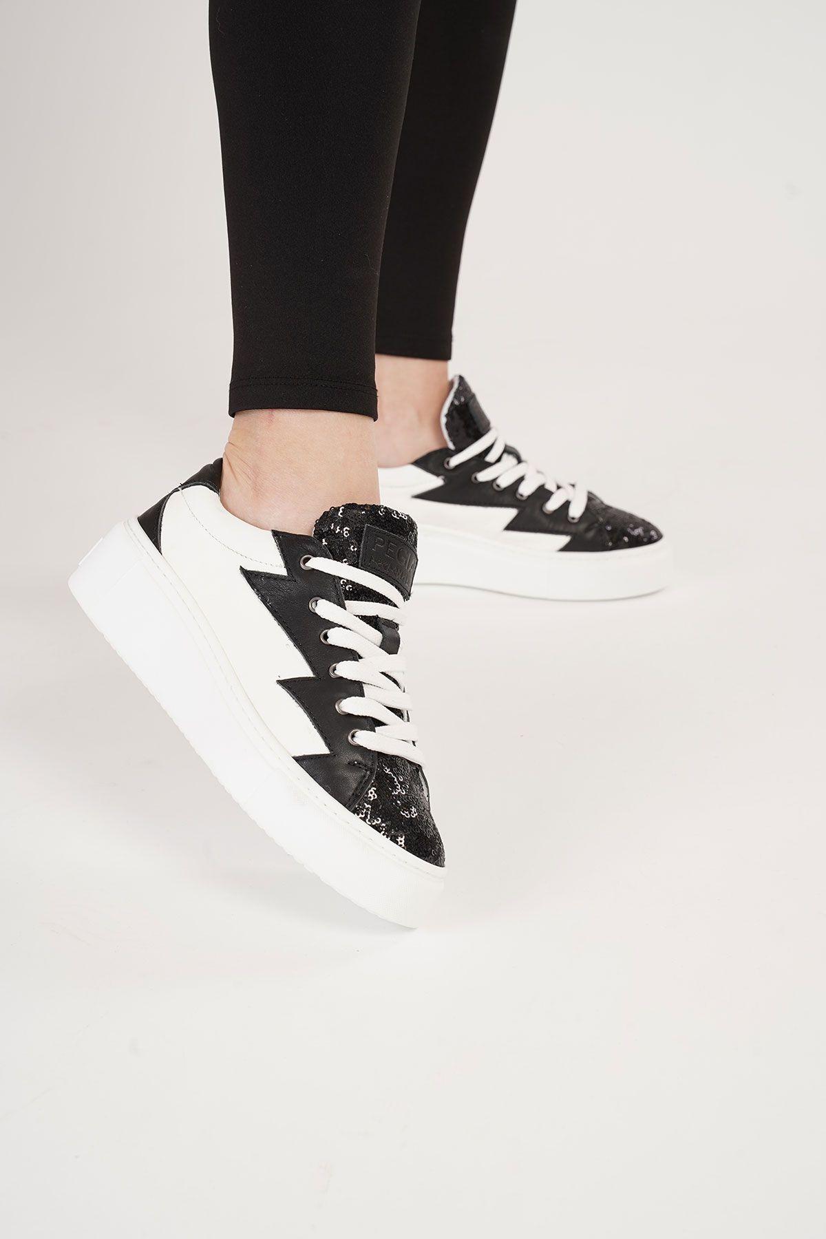 Pegia Genuine Leather Women's Sneaker LA1504 Black