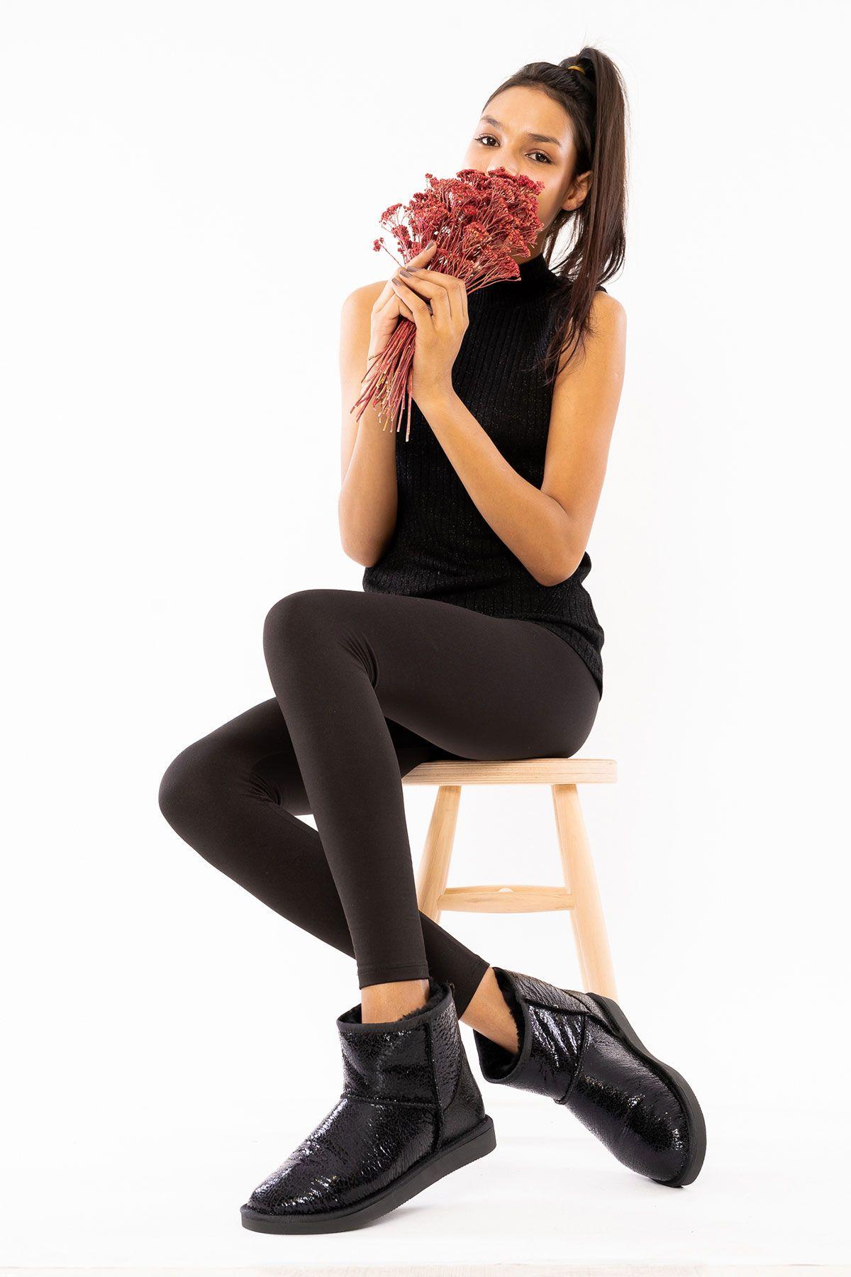Pegia Hakiki Kürk Cam Kırığı Desen Kısa Bayan Bot 191027 Siyah