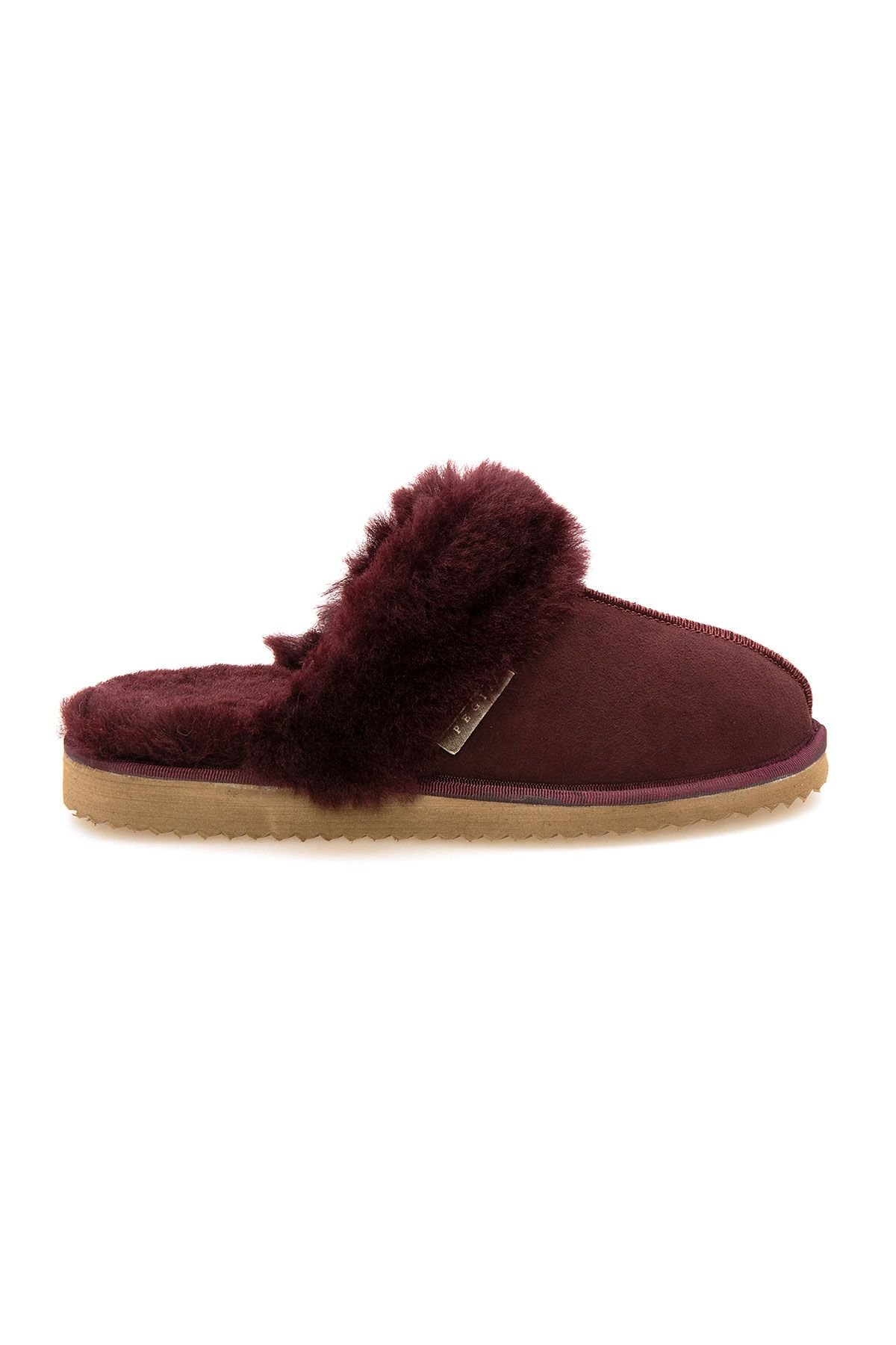 Pegia Genuine Sheepskin Women's House Slippers 212001 Claret red