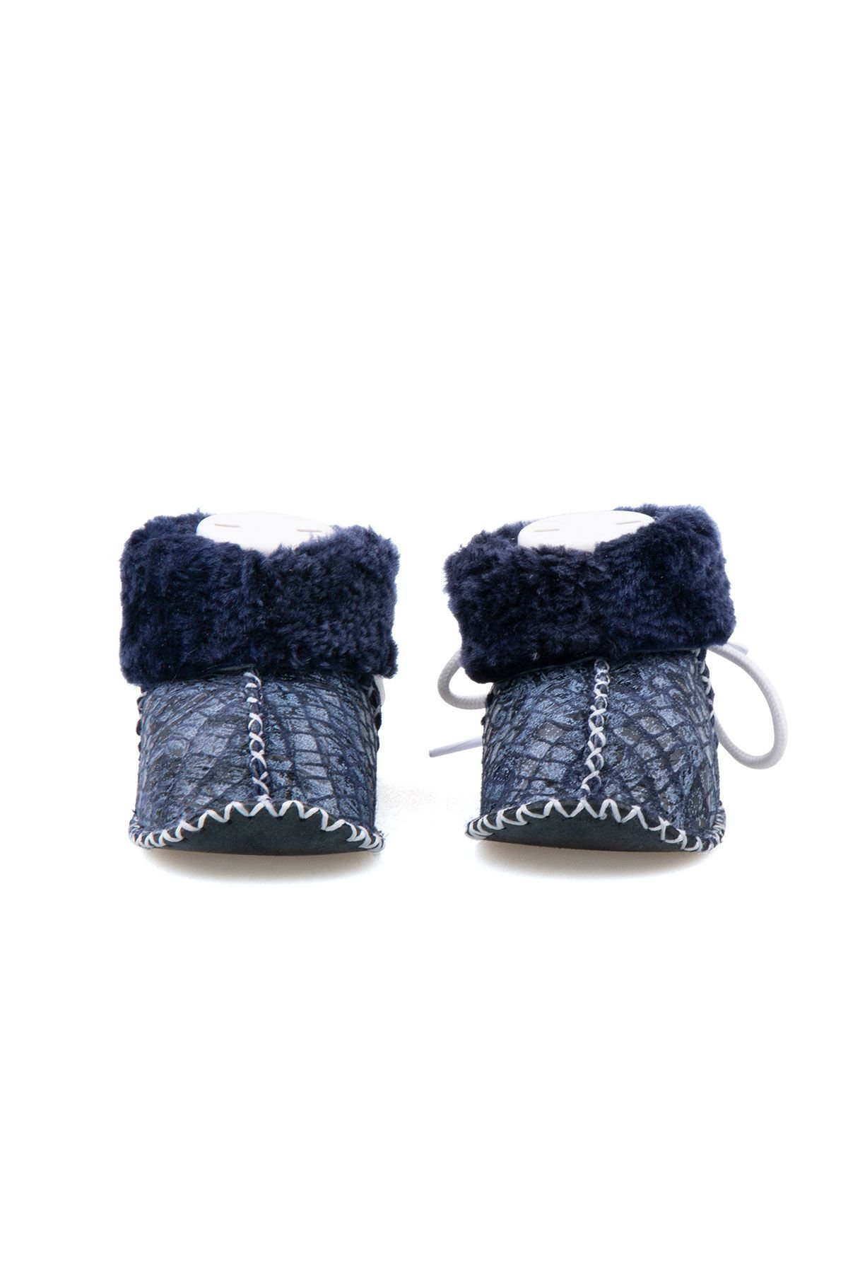 Pegia Shearling Baby's Booties 141113 Navy blue