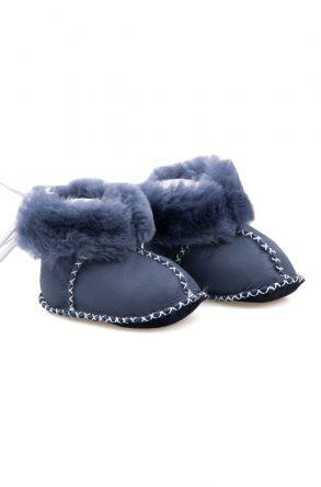 Pegia Hakiki Kürklü Bebek Patiği 141113 Mavi