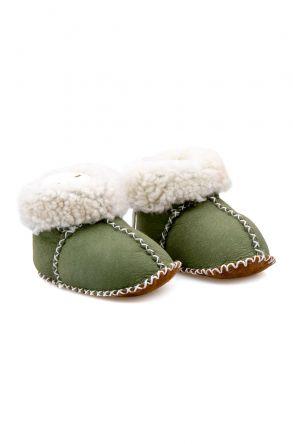 Pegia Hakiki Kürklü Bebek Patiği 141114 Yeşil