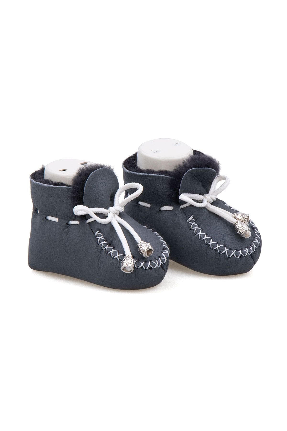 Pegia Shearling Baby's Booties 141115 Anthracite-colored
