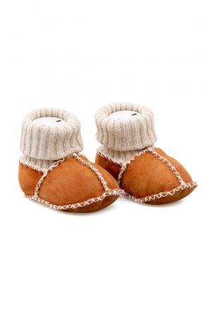 Pegia Hakiki Kürklü Çoraplı Bebek Patiği 141107 Taba