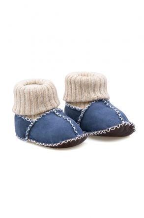 Pegia Hakiki Kürklü Çoraplı Bebek Patiği 141107 Mavi