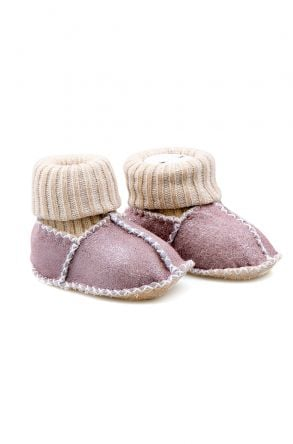 Pegia Shearling Baby's Booties With Socks 141107 Powdery