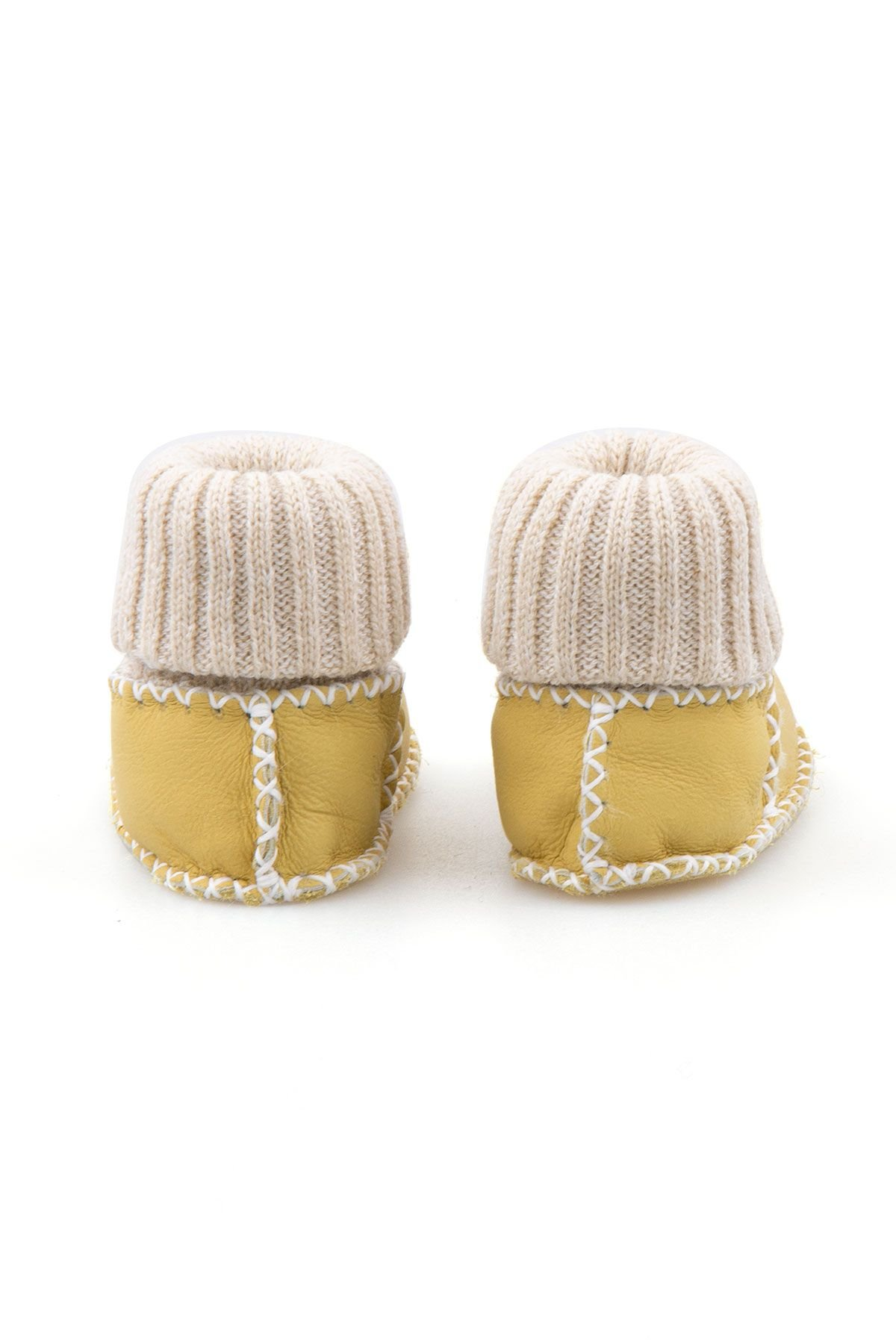 Pegia Hakiki Kürklü Çoraplı Bebek Patiği 141107 Sarı