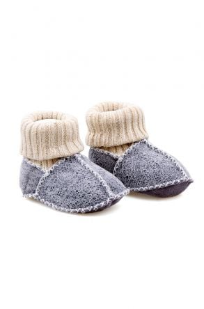Pegia Shearling Baby's Booties With Socks 141107 Dark Gray