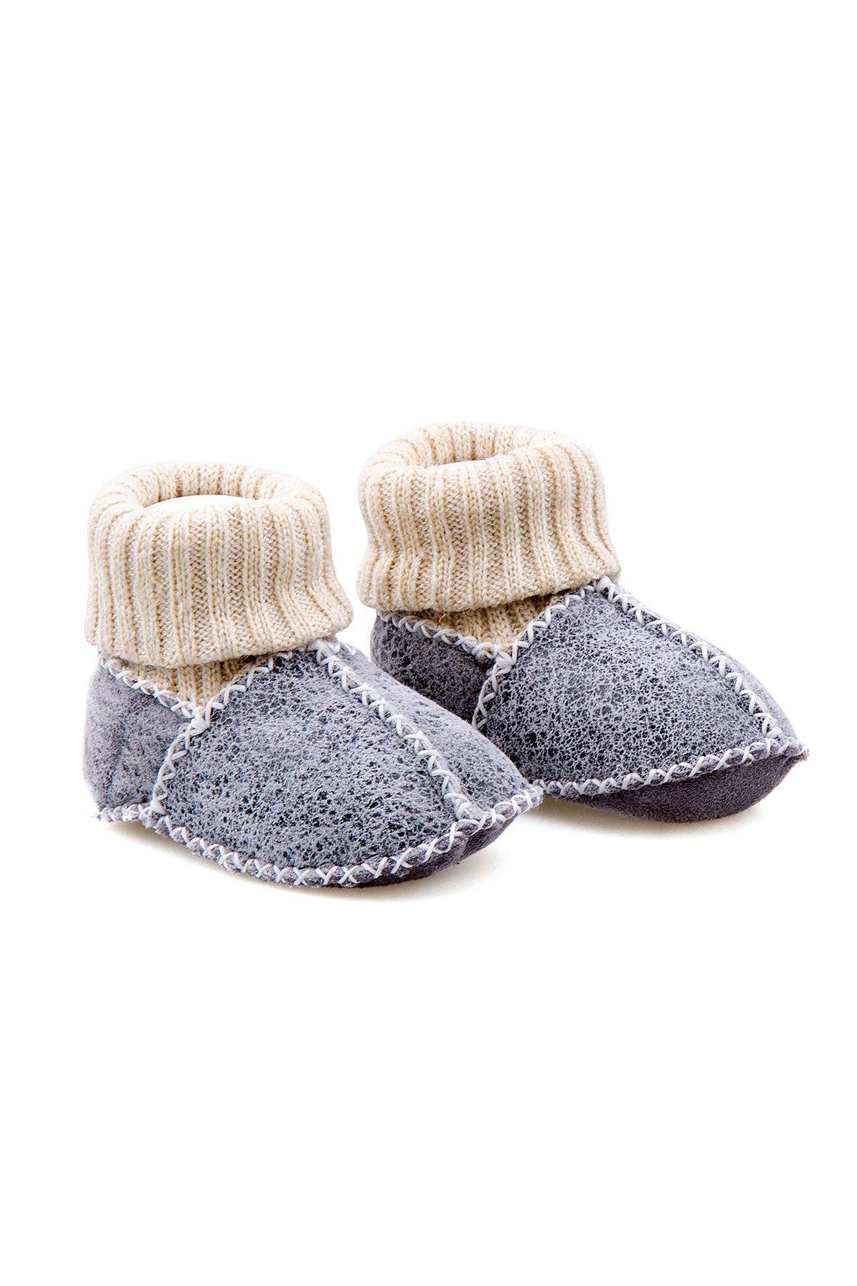 Pegia Hakiki Kürklü Çoraplı Bebek Patiği 141107 Füme