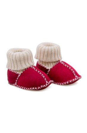 Pegia Shearling Baby's Booties With Socks 141107 Pomegranate