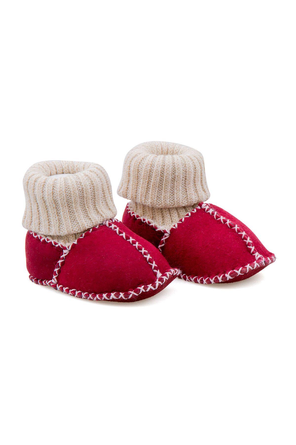 Pegia Hakiki Kürklü Çoraplı Bebek Patiği 141107 Nar Çiçeği