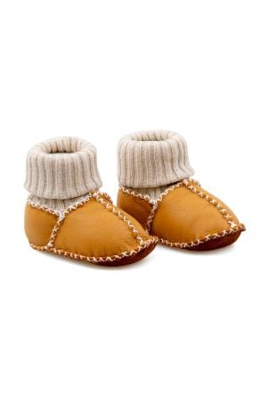 Pegia Shearling Baby's Booties With Socks 141112 Ginger