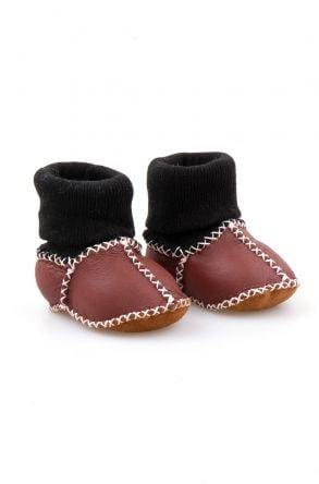 Pegia Hakiki Kürklü Çoraplı Bebek Patiği 141112 Bordo
