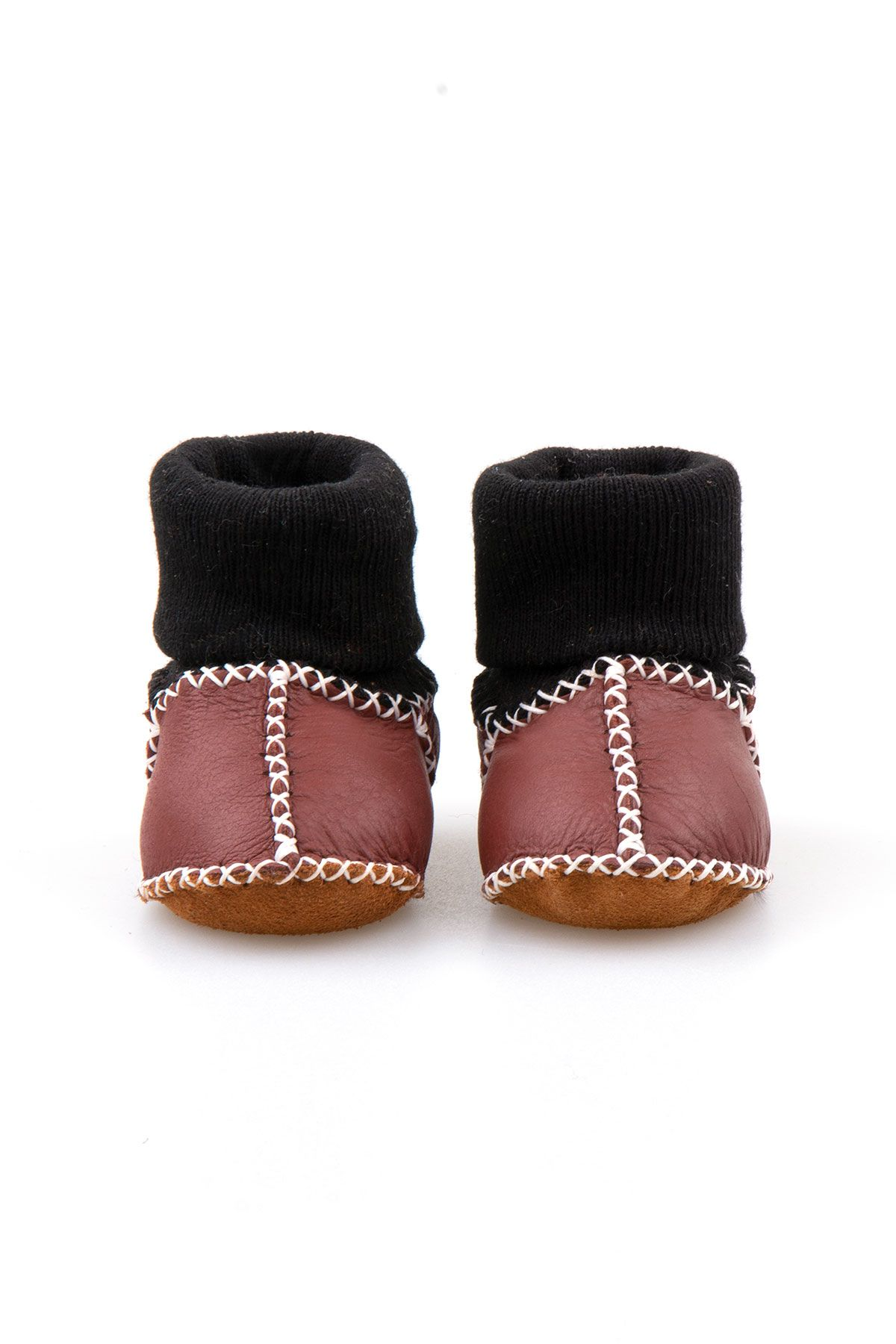 Pegia Shearling Baby's Booties With Socks 141112 Claret red
