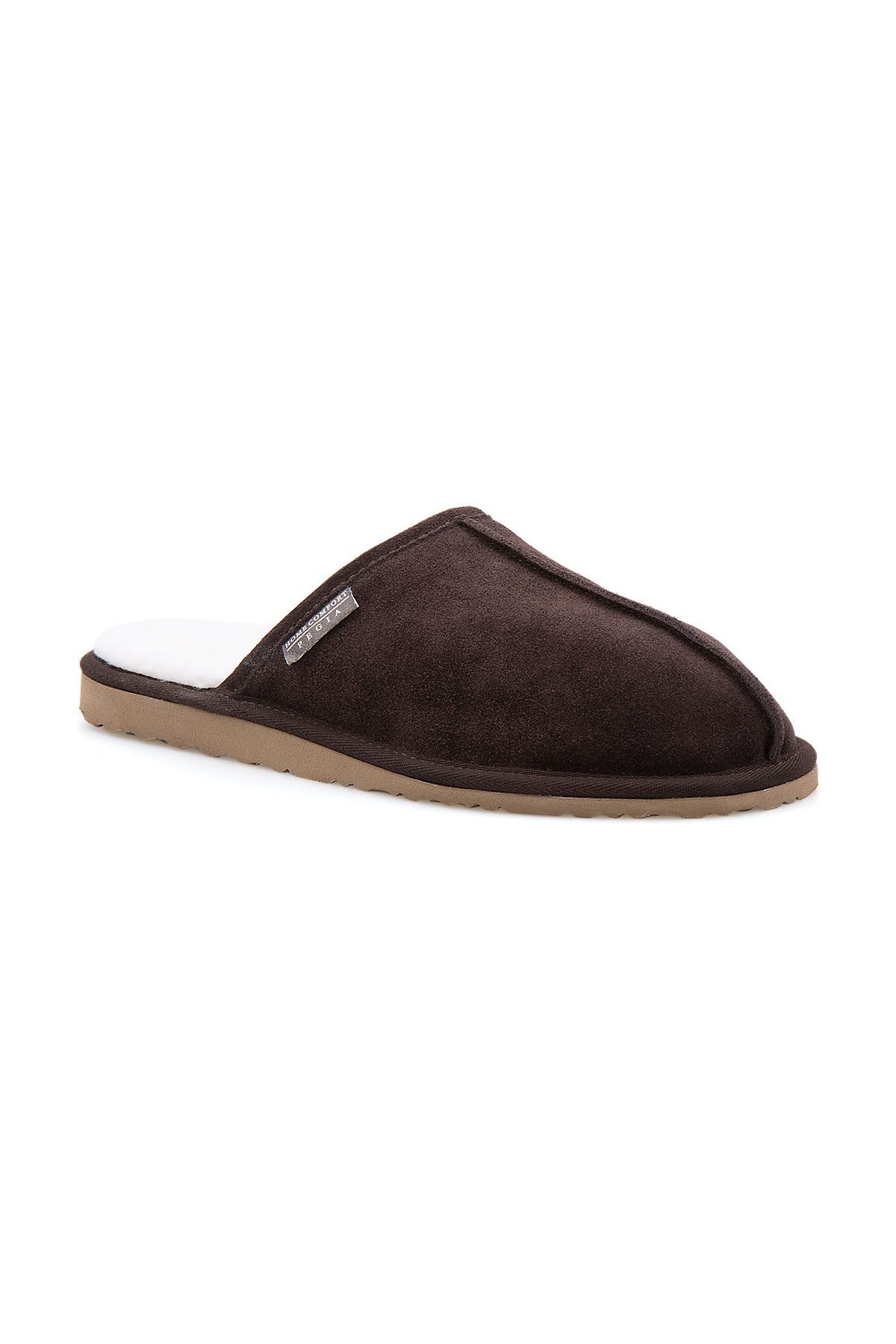 Pegia Men House Slippers From Genuine Fur Brown