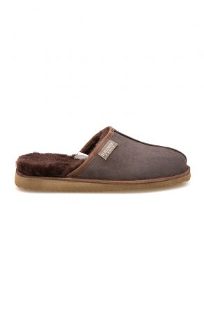 Pegia Men's Shearling House Slippers 111020 Brown