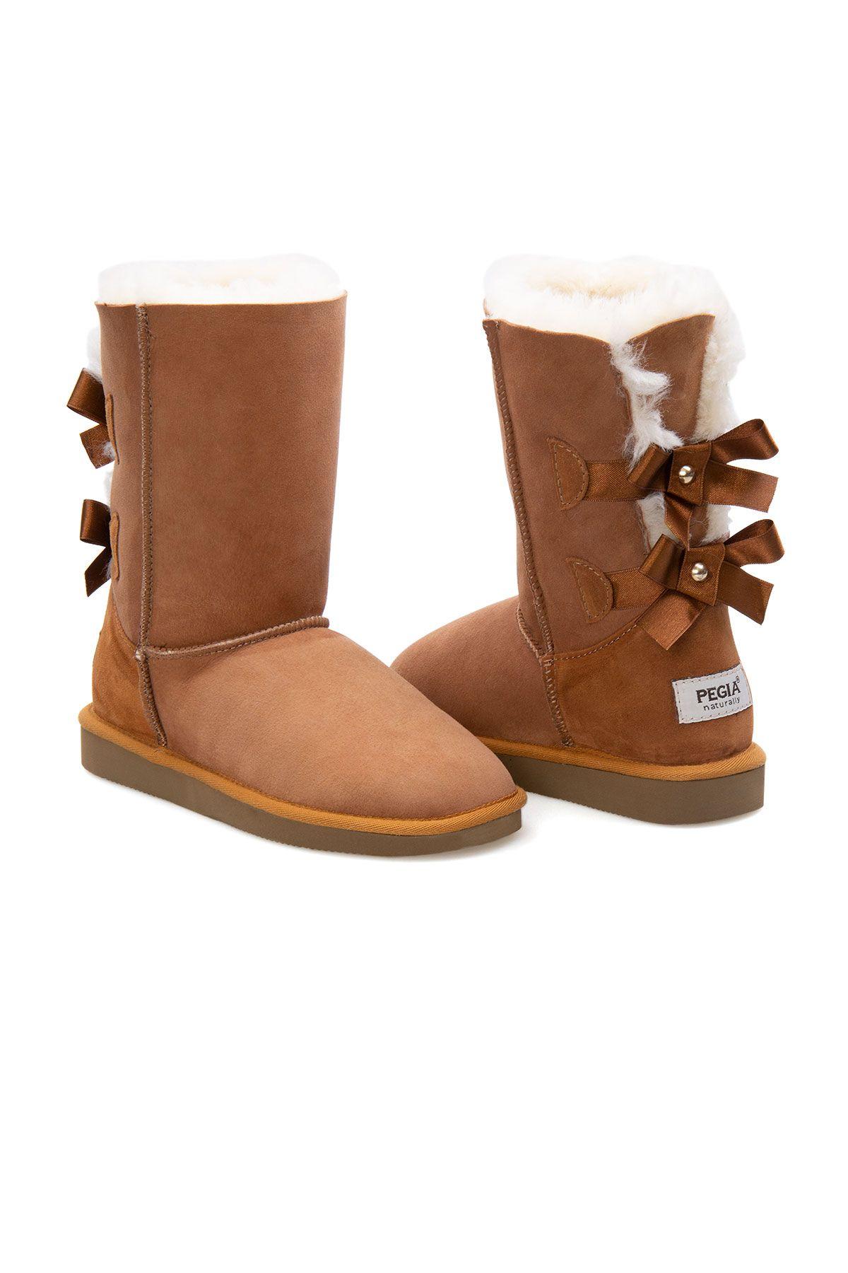 Pegia Genuine Sheepskin Women's Boots 191066 Ginger