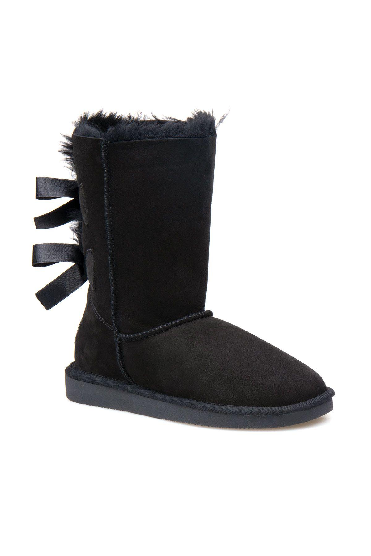 Pegia Genuine Sheepskin Women's Boots 191066 Black