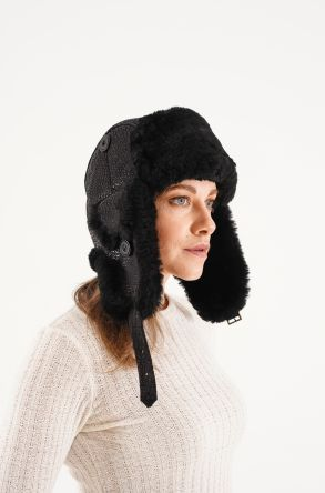 Pegia Genuine Sheepskin Hat 20SB01 Black
