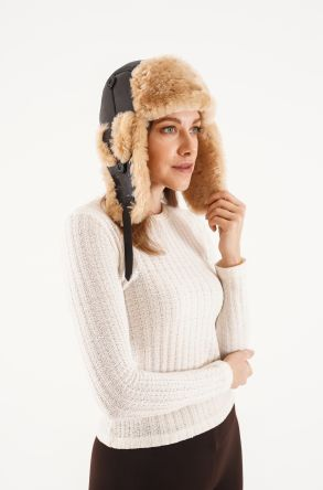 Pegia Genuine Sheepskin Hat 20SB01 Brown