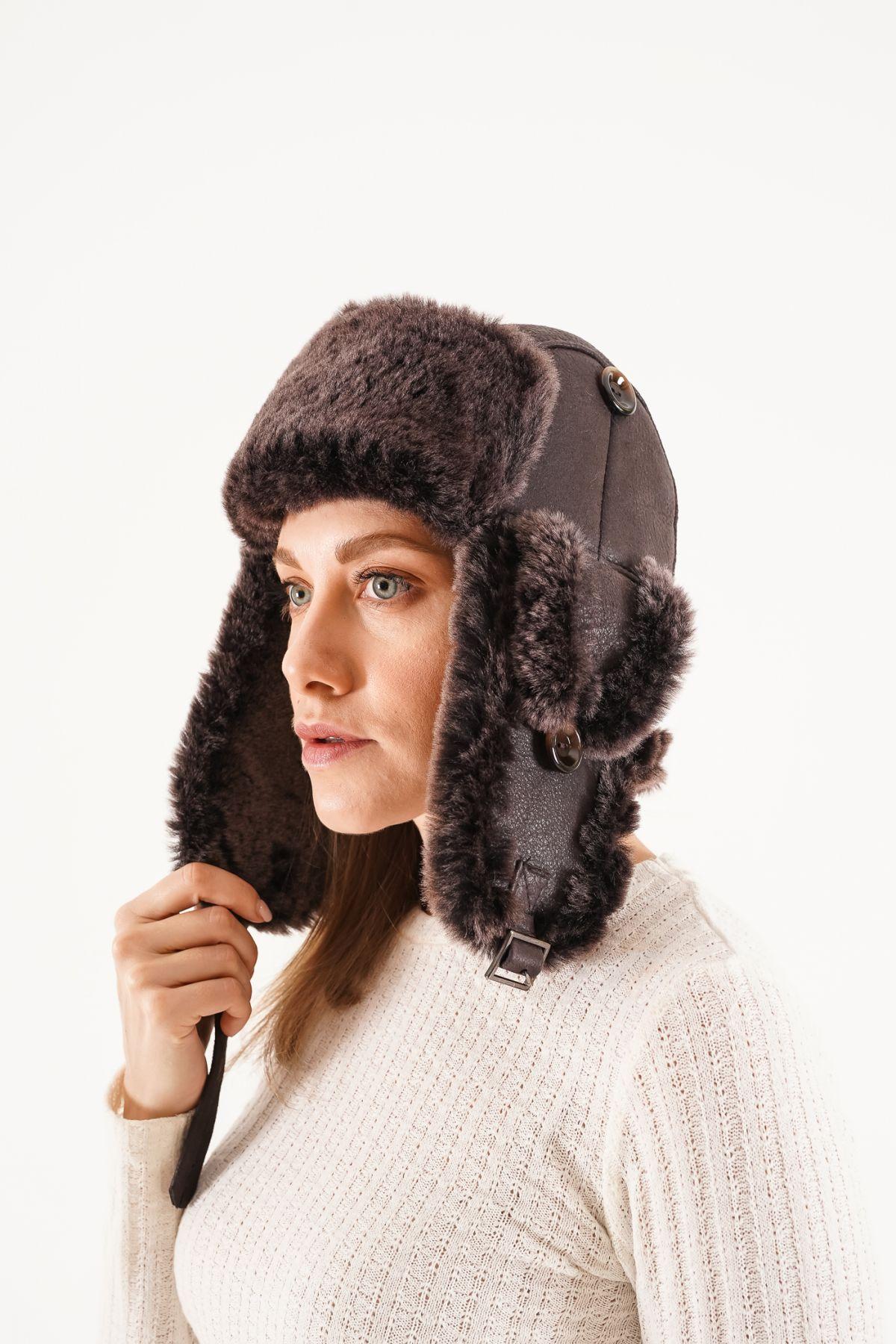 Pegia Genuine Sheepskin Hat 20SB01 Dark Brown