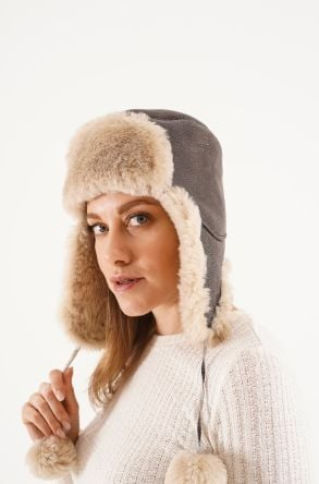 Pegia Genuine Sheepskin Hat 20SB02 Anthracite-colored