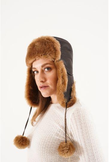 Pegia Genuine Sheepskin Hat 20SB02 Brown