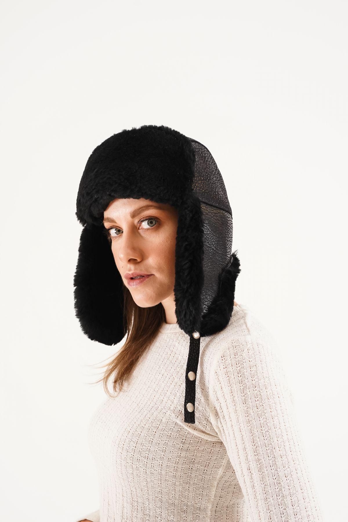 Pegia Hakiki Kürklü Şapka 20SB03 Siyah