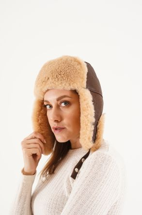 Pegia Genuine Sheepskin Hat 20SB03 Brown