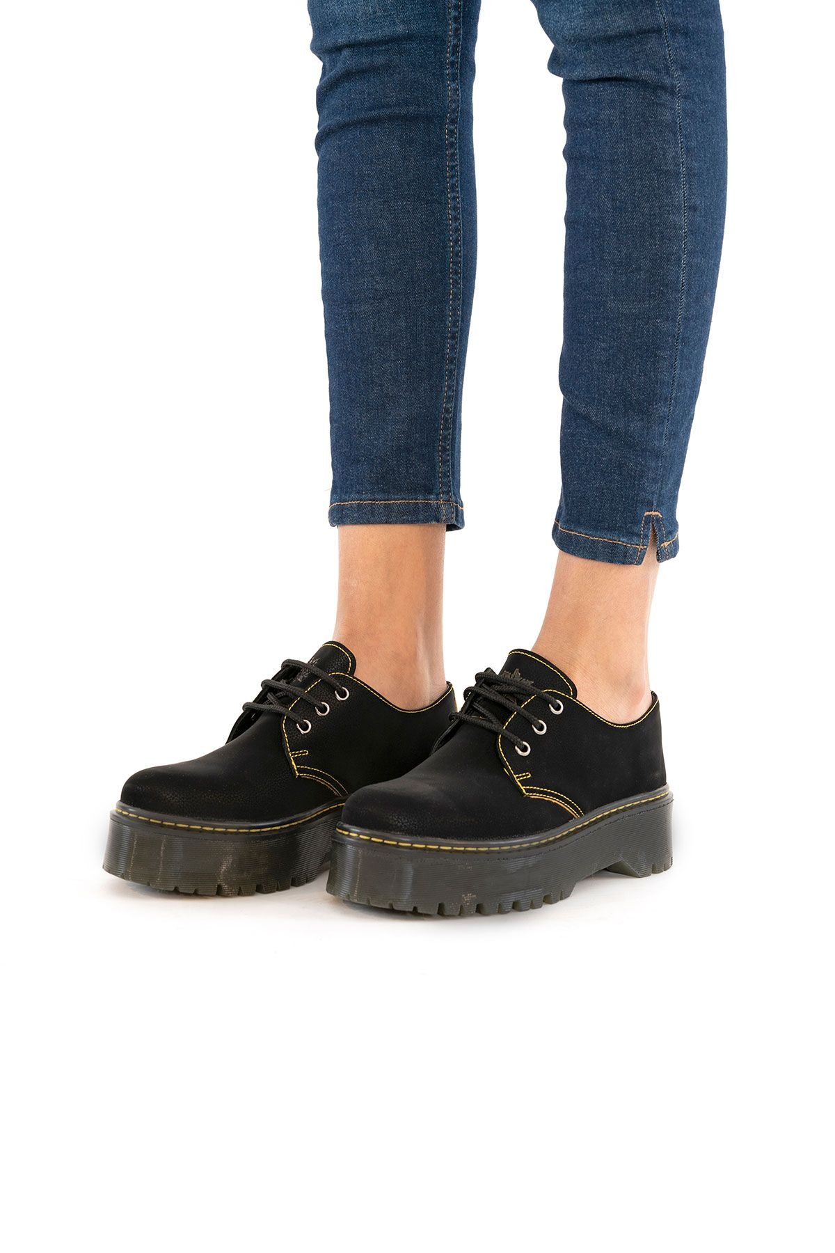 Pegia Hakiki Nubuk Kadın Ayakkabı 500702 Siyah
