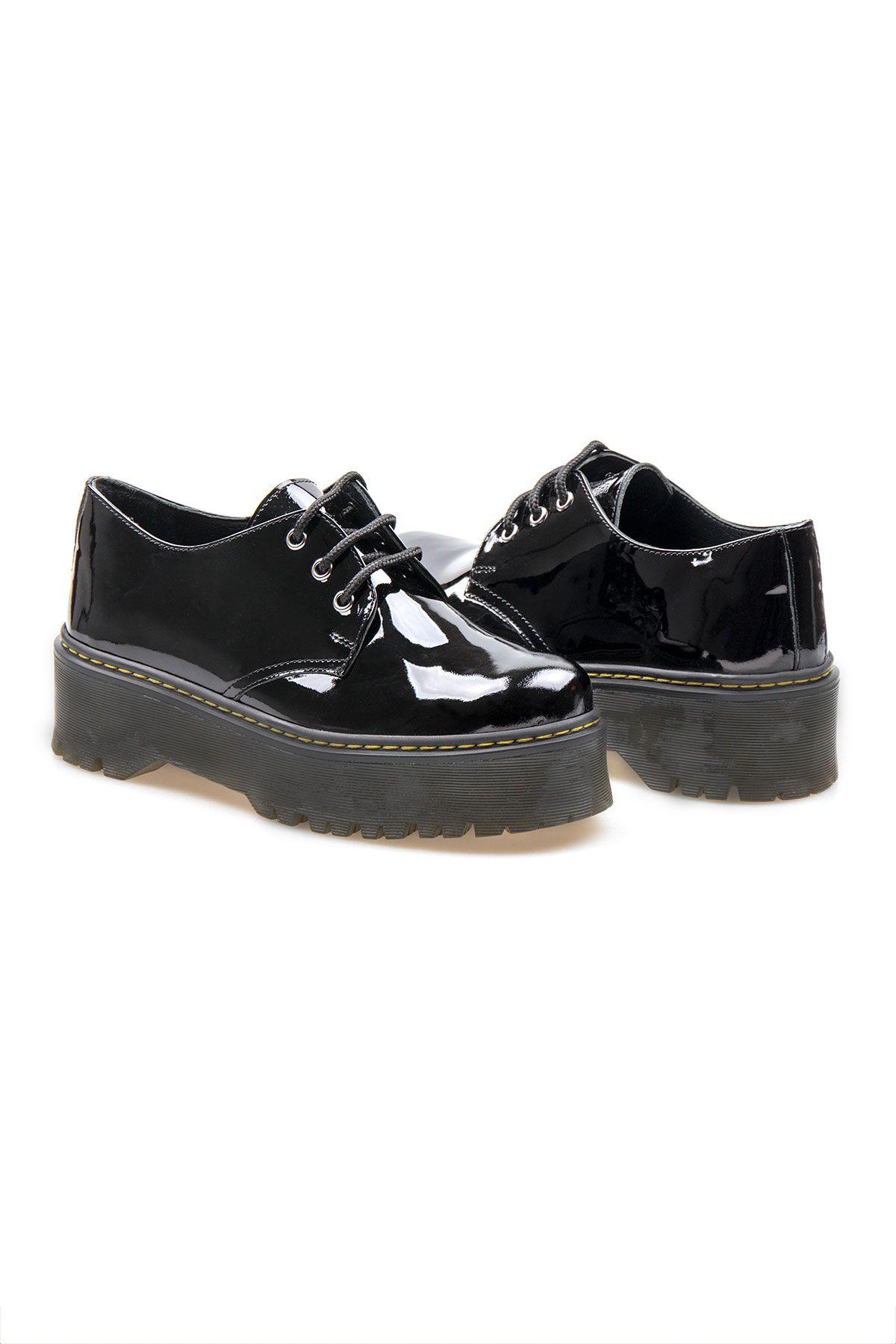 Pegia Genuine Patent Leather Women's Shoes 500700 Black