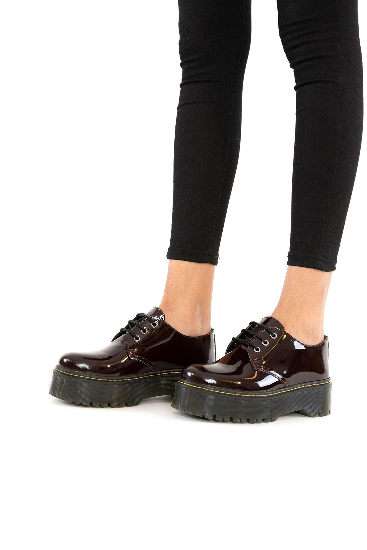 Pegia Genuine Patent Leather Women's Shoes 500700 Claret red