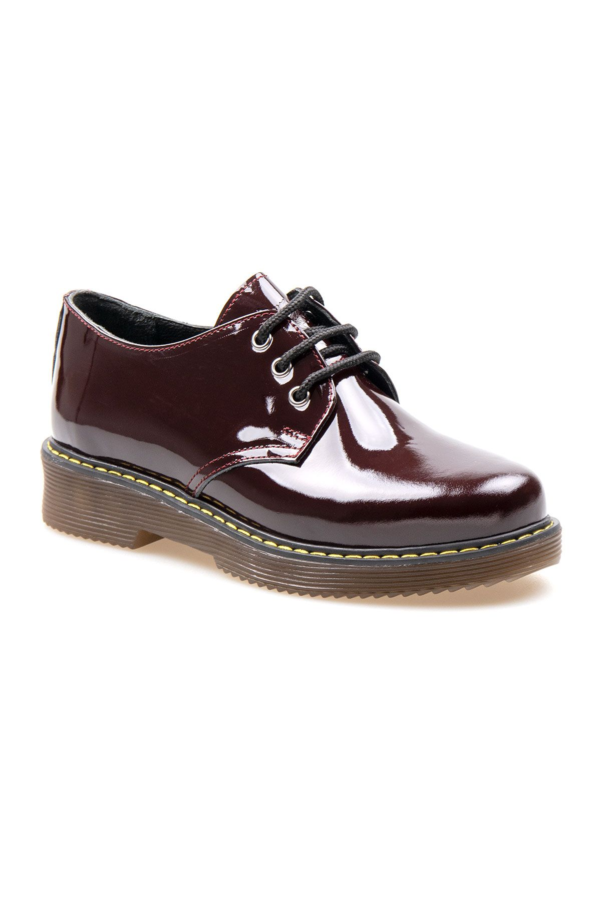 Pegia Genuine Patent Leather Women's Shoes 500703 Claret red