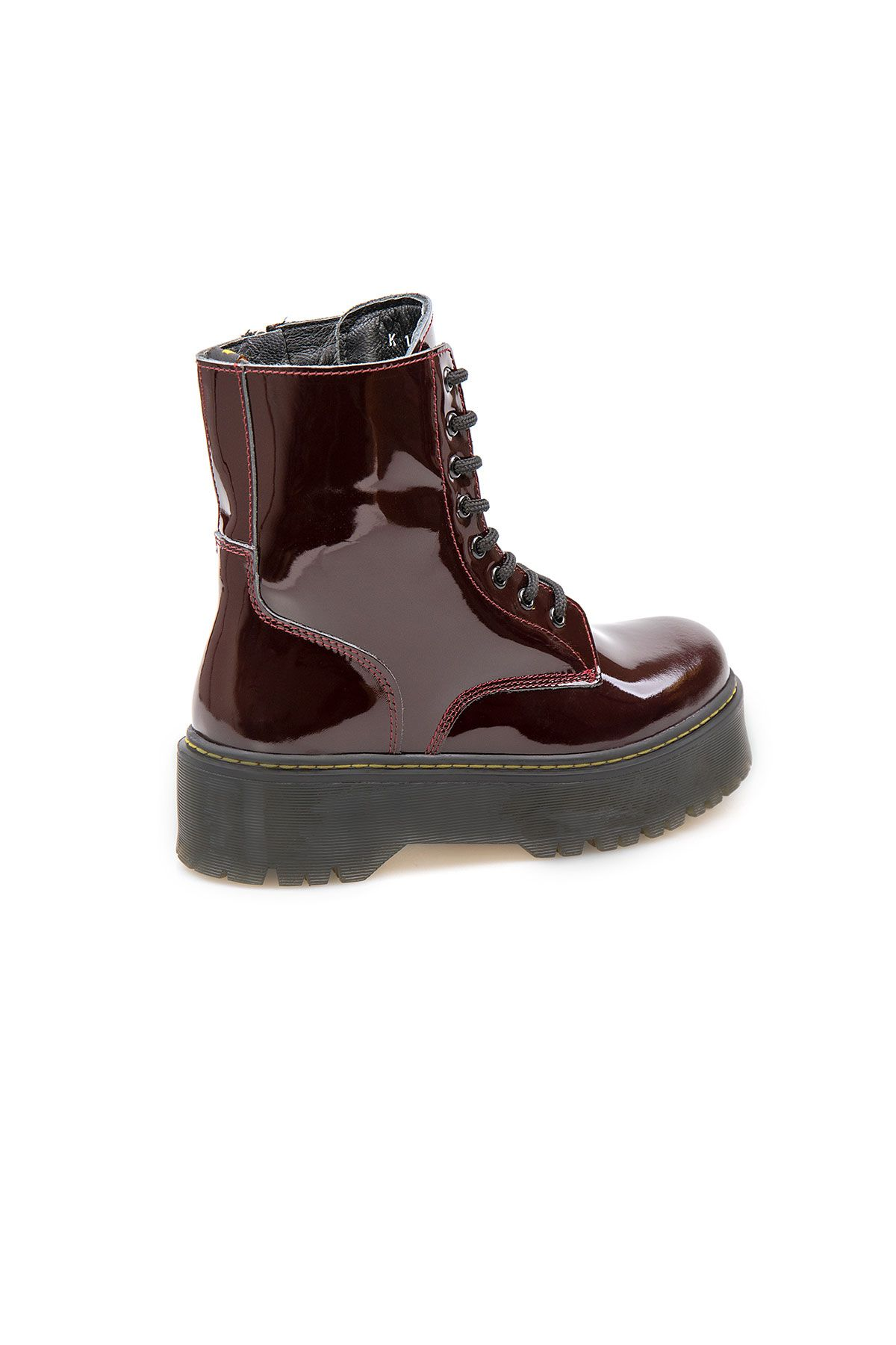 Pegia Genuine Patent Leather Women's Boots 500710 Claret red