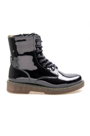 Pegia Genuine Patent Leather Women's Boots 500713 Black