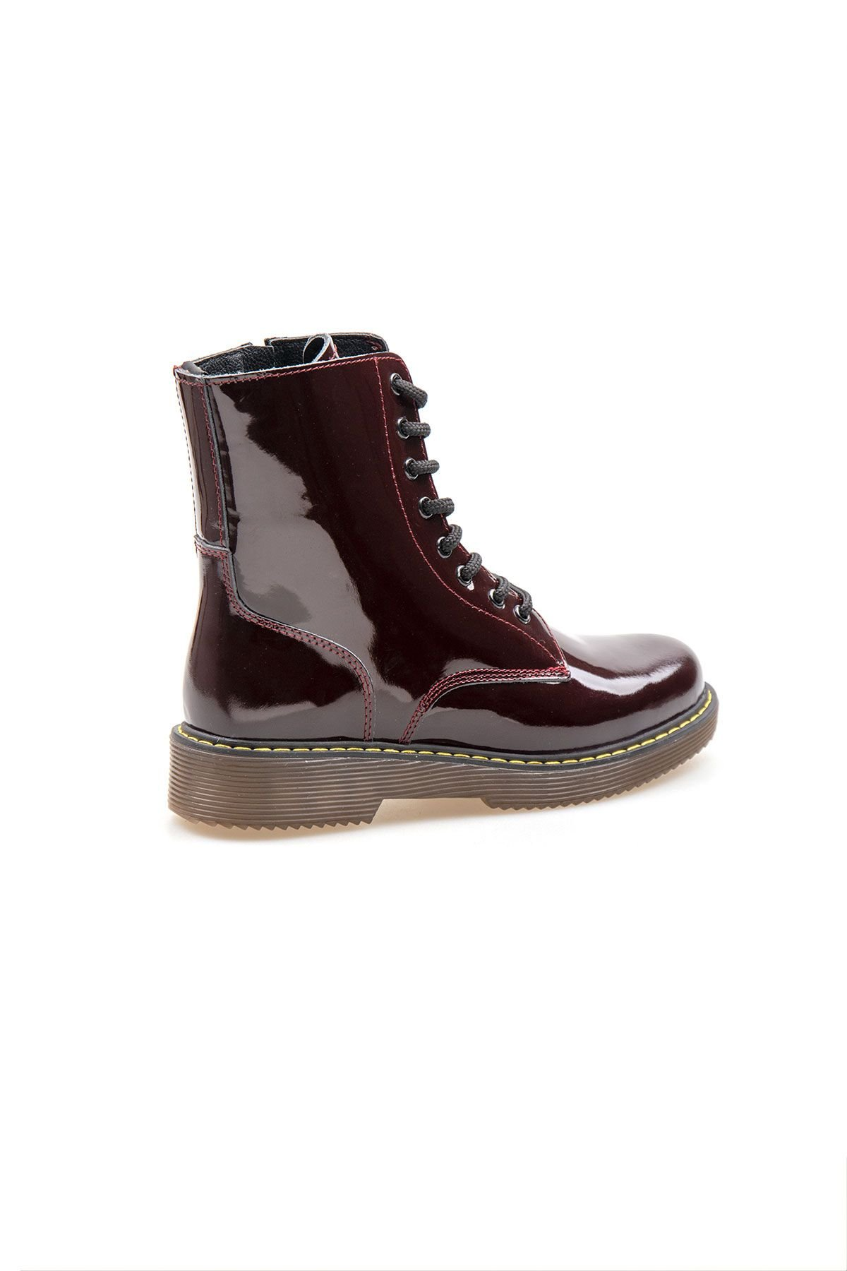 Pegia Genuine Patent Leather Women's Boots 500713 Claret red