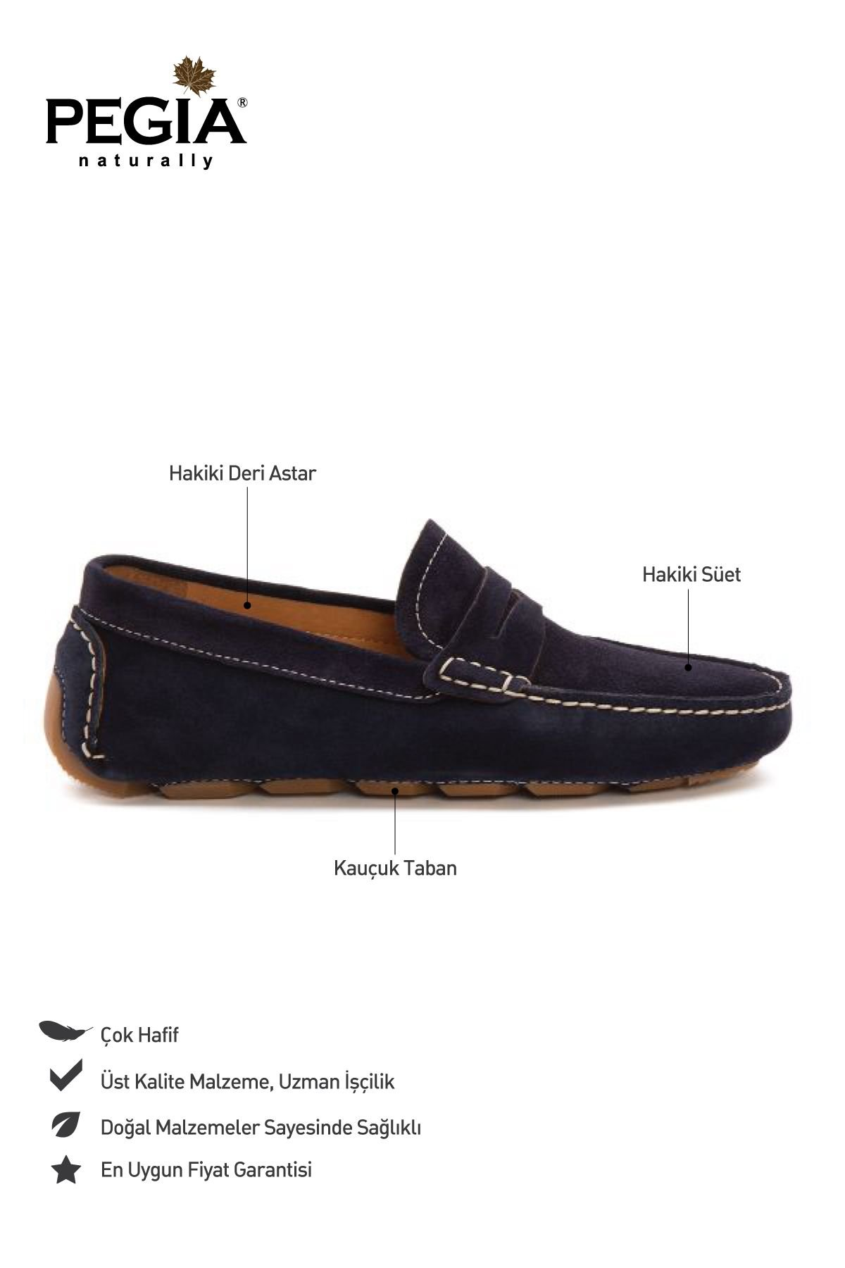 Pegia Genuine Suede Men's Loafer Shoes 500901 Navy blue