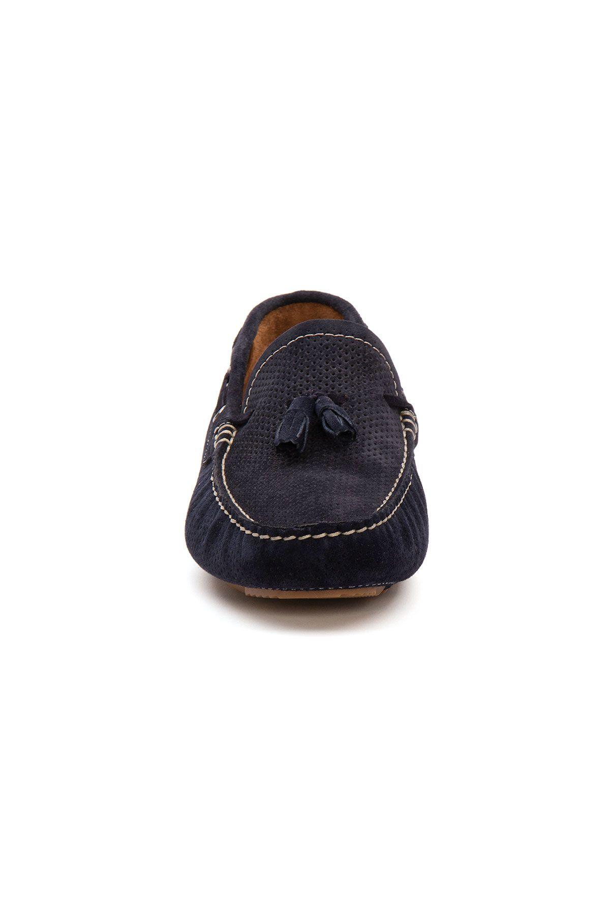 Pegia Genuine Suede Men's Tassel Loafer 500903 Navy blue