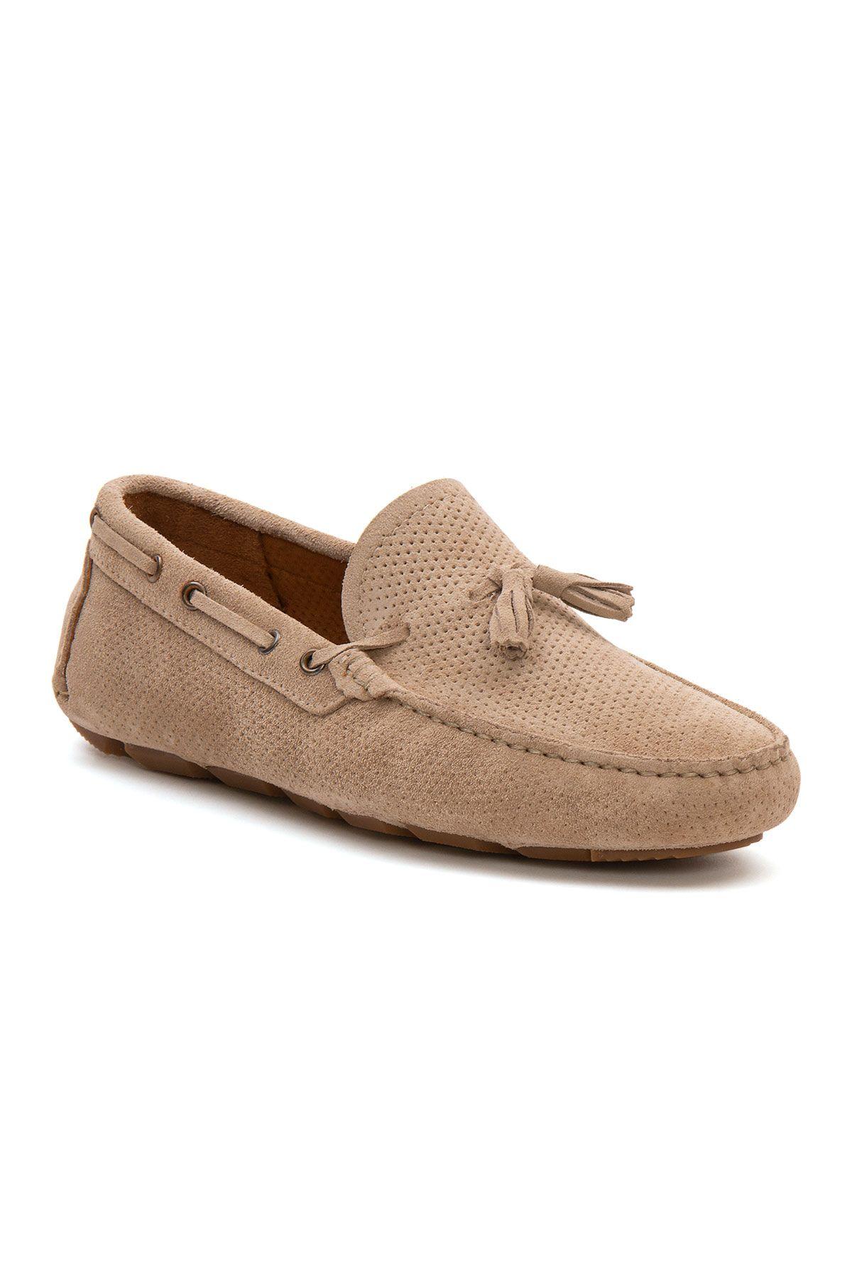 Pegia Genuine Suede Men's Tassel Loafer 500903 Beige