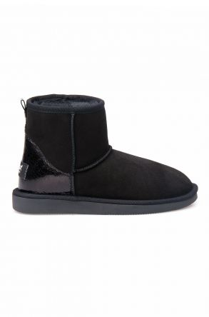 Pegia Women Boots From Genuine Suede And Sheepskin Fur Decorated With Leather 191074 Black