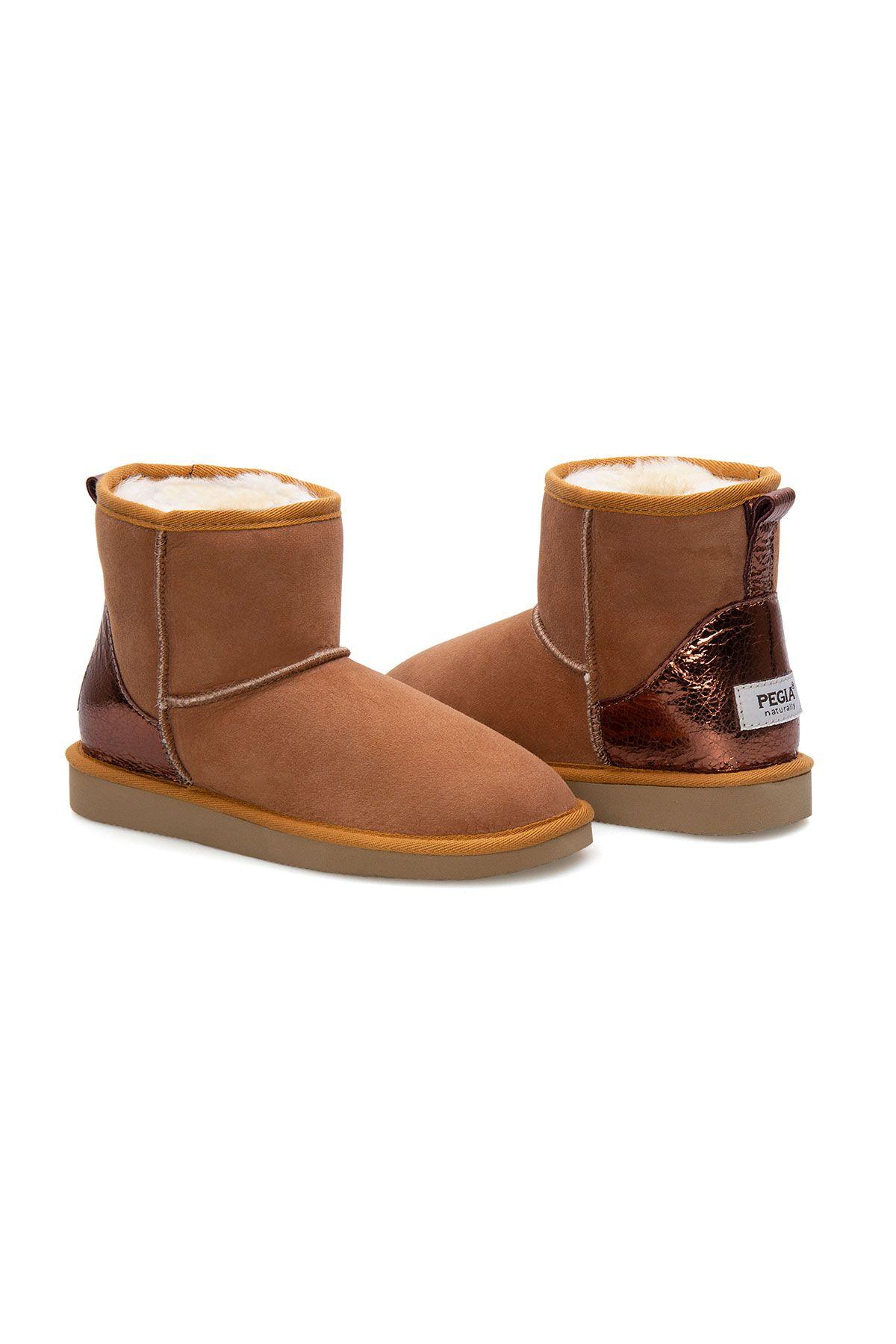 Pegia Women's Heel Detailed Sheepskin Boots 191074 Ginger