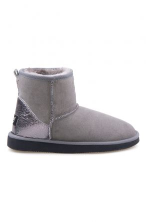 Pegia Women Boots From Genuine Suede And Sheepskin Fur Decorated With Leather 191074 Gray