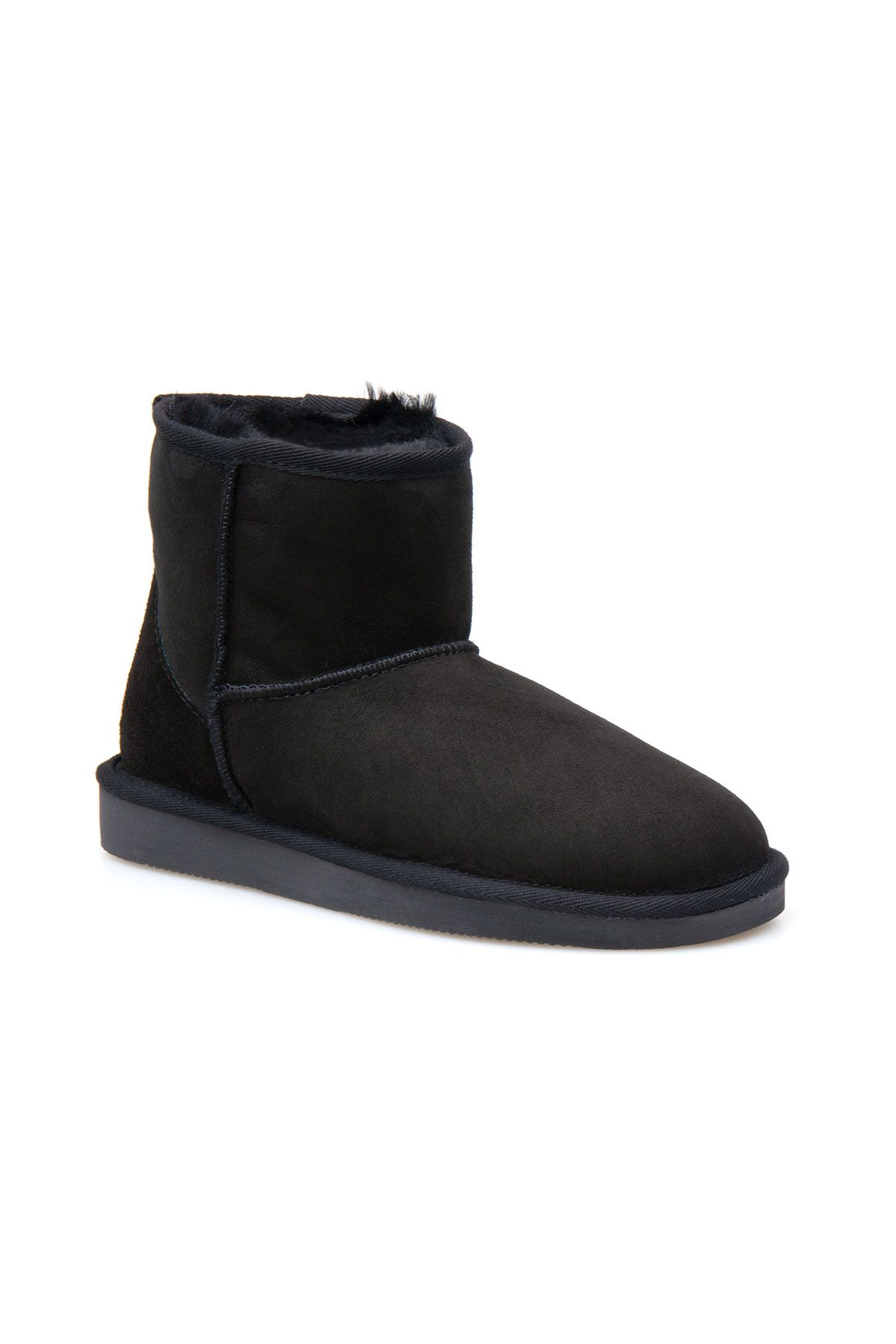 Pegia Women Boots From Genuine Suede And Sheepskin Fur Decorated With Crown Insertion Black