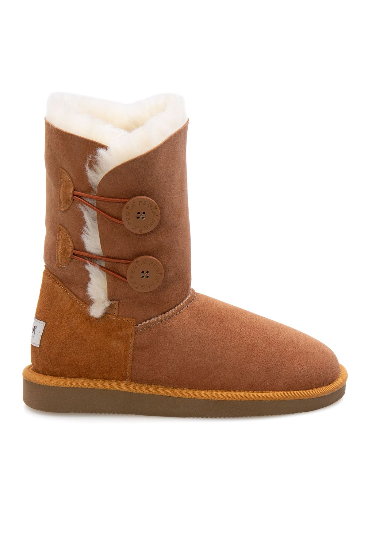 Pegia Women Boots From Genuine Suede And Sheepskin Fur Decorated With Snaps Ginger
