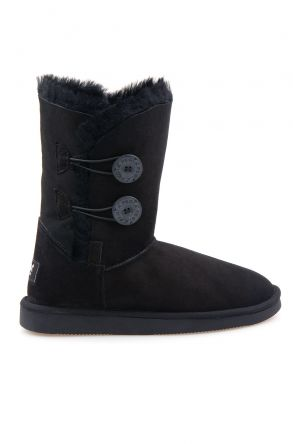 Pegia Women Boots From Genuine Suede And Sheepskin Fur Decorated With Snaps Black