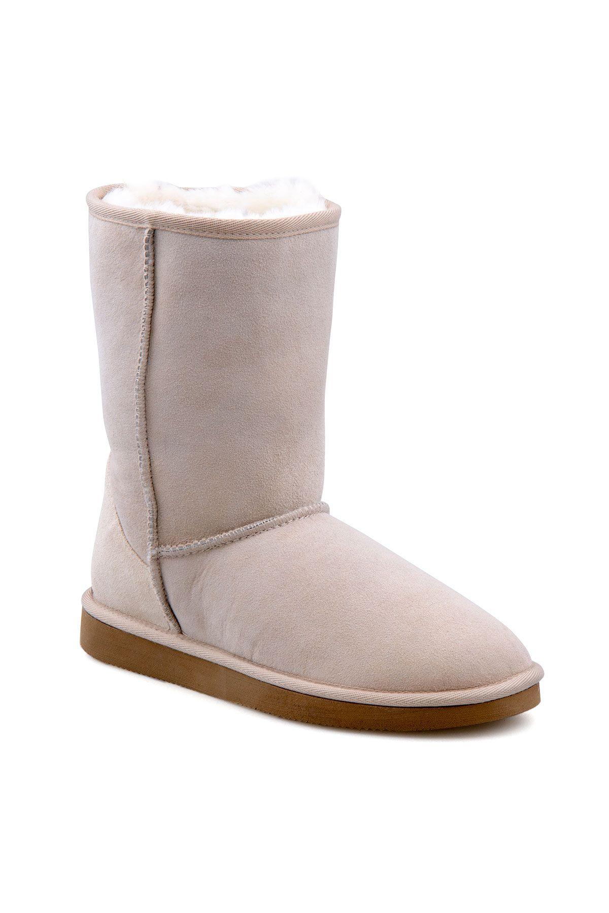 Pegia Genuine Sheepskin Classic Women's Boots 191011 Beige
