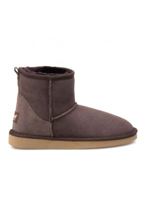 Pegia Short Genuine Suede & Sheepskin Women Boots From 191021 Brown