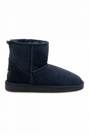 Pegia Short Genuine Suede & Sheepskin Women Boots From 191021 Navy blue